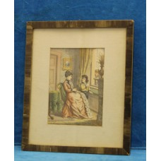 (20ᵉ century) in Watercolor frame with glass Conversation between a lady and a child