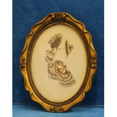 Silver Christine (20ᵉ century) Color drawing in oval frame with glass English Edwardian Walking Suit