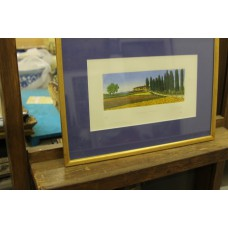 Casille Douil (20ᵉ century) Color etching in frame and glass Landscape