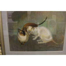 Brand (20ᵉ century) Chalk drawing in frame with glass 2 cats champion