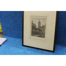 Poppe J-Rohbock L (20ᵉ century) Steel engraving in frame with glass Hague fish market