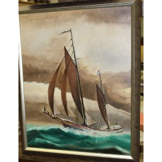 (20ᵉ century) Oil on panel in frame Sailboat at sea