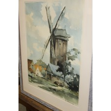 Lubbeling G (20ᵉ century) Coloured etching in frame with glass Mill in village