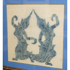 (20ᵉ century) Mixed technique on fabric in frame with glass Thai dancers