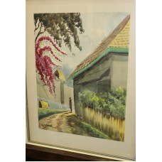 Adjsar (20ᵉ century) Watercolor in frame with glass Indies village with figur