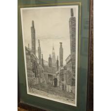 Arend Hendriks (20ᵉ century) 1901-1951 Etching in frame with glass Old Scheveningen