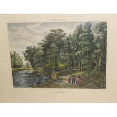 L van Uden (20ᵉ century) colored etching in frame with glass La forêt