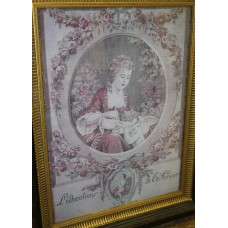 (20ᵉ century) Embroidery in frame with glass L'education de L'Amour