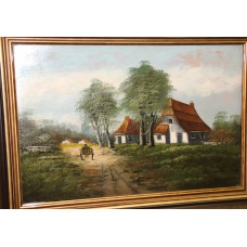 (20ᵉ century) Oil on panel in frame Farmhouse on country road with horse carriage