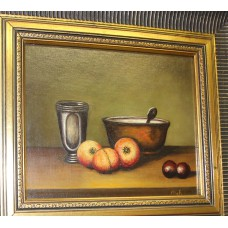 MAF Oil on canvas in a gilt frame (20ᵉ century) Still life of fruit bowl and a cup