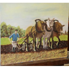 H Baker Oil on canvas (20ᵉ century) Nov 75 Farmer plowing with three horses