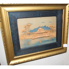 Chinese (20e century) Cork technique Painting in list behind glass