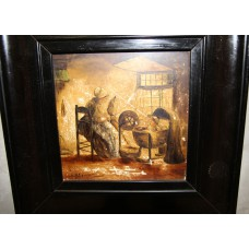 n. H. Blommers (20e century) Painting  Oil paint on tile in blacklframe