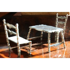 Amsterdam Silver (20ᵉ century) Miniature Table with chair and sofa
