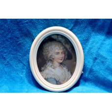 Ivory miniature (2ᵉ half 19ᵉ century) Oil painting on ivory in ivory ovals frame Lady with Hat and feather