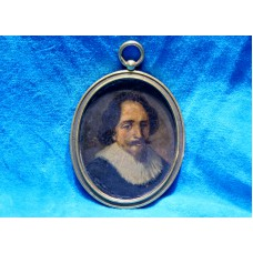 Copper miniature (19ᵉ century) Oil painting in oval copper frame Oval frame, man with beard and collar