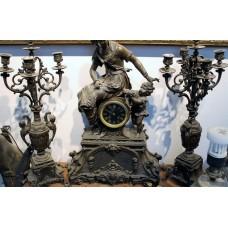 Spelter 3-piece clock set