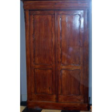 Cabinet (ca. 1900) Pine Louis Philippe 2-door wardrobe with drawer in transparent varnish paint