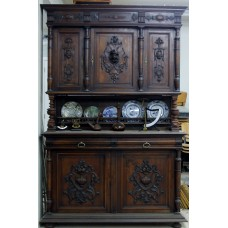 Cabinet (ca. 1890) French oak 3-piece wardrobe with carved doors on bun feet