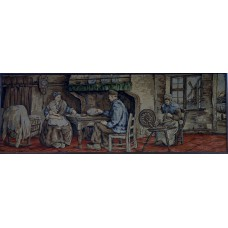 Gobelin (20ᵉ century) French Farmers interior with man and woman at the table and woman at spinning wheel