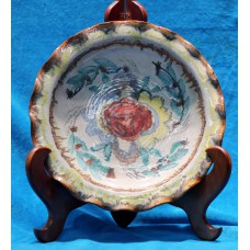 Meißen Polychrome earthenware (20ᵉ century)Decorative Plate with curly rande entirely with floral pattern