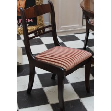Biedermeier style Chairs (19ᵉ century) Mahogany wood curved back the seat with vertically striped fabric coated