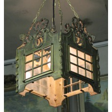 Copper (20ᵉ century) Pendant lamp with curly ornaments