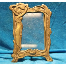 Art Nouveaux Bronze (20ᵉ century) Photo frame adorned with flowers and woman