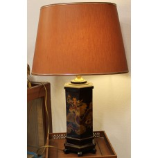 China Wood (20ᵉ century) Chinese 6-sided lamp with shade