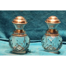 Crystal with silver (19ᵉ century) 2 ink jars with silver ring and cap