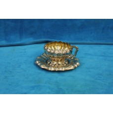 Austria Silver (1867-1872) Cup and saucer ribbed  curved