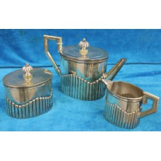 Schoonhoven Silver (1905) Oval Victorian tea set English style with Godron