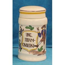 Porseleinen Fles  Polychrome earthenware (20ᵉ century) Pharmacist Spot labeled Ung triamlinolou