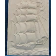 Gypsum (20ᵉ century) Decorative tile Tile with relief ship The Seven Provinces