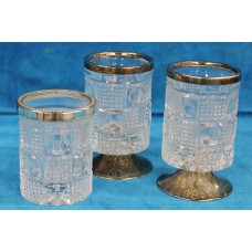 Crystal and Silver Plate (20ᵉ century) 2 Spoon cups on foot