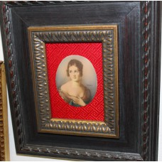 Herm Oil on celluloid in frame (20ᵉ century) Miniature Lady with plunging neckline