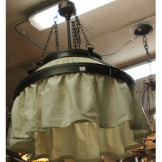 Art Deco Fabric and Iron (20ᵉ century) Hanging lamp round iron and furnished complete with bar and ceiling plate