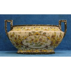Atelier Th Oor Old Delft porcelain (20ᵉ century) Plateel cachepot with two ears (wear)