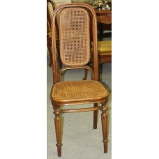 Art Deco Wood (20ᵉ century) Furniture 4 chairs with cane seat and backrest angles rounded