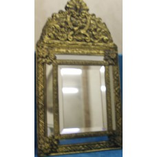 Latoen copper (ca. 1930) Sided hall mirror with beveled glass in gilded frame with crest