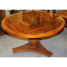 Art Nouveaux Wood (20ᵉ century) Rosewood Round table with bulbous stem inlaid veneer in the form of Toorop
