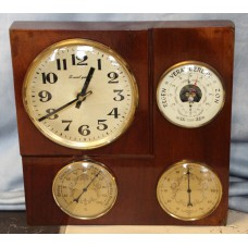 Dutch (20th century) Copper/Wood with clock barro thermometer and pressure gauge