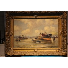 Painting. Schipper, Jan (1899-1961-20ᵉ century) Oil on canvas Port of Rotterdam