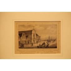 N.N. Lithograph in frame (19ᵉ century) R.C. Church at Scheveningen.