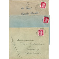 Luxembourg German Occupation 3 covers with Mi. 788 and train-cancellations